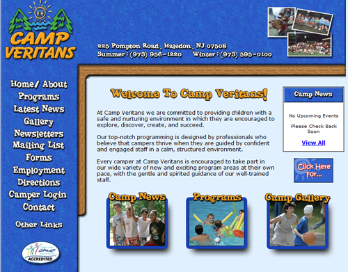 Summer Camp Web Design
